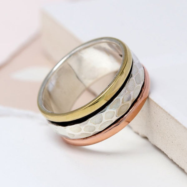 Sterling Silver Mixed Metal Spinning Ring