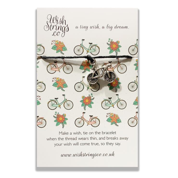 Lovingly handmade in the UK, a silver bike charm with fantastic detailing has been hand strung and knotted on 30cm of the finest waxed cotton cord. Presented on a colourful, luxury 350gsm display card.    Bracelet size - one size fits all, trim to fit Card size - 85mm x 55mm x 5mm.