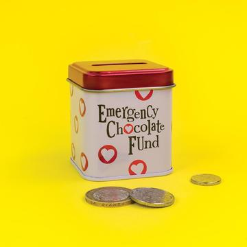 You've got the booze fund sorted but you're experiencing a serious case of potentially-not-having-enough-chocolate anxiety. How horrid for you. Not to worry, there's a storage tin for that. Our emergency chocolate fund tin is fun and funky, the perfect way to stash the spare cash for chocolate emergencies.  Size  - 5.5 x 5.5 x 6.6cm.