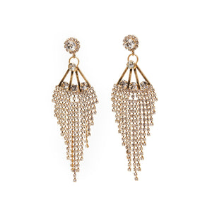 Cascading with Glamour these 1950's Inspired Chandelier Crystal Earrings will certainly gather envious gazes. Hypoallergenic and Nickel free. Length - 9cm. Width - 3cm. Brass Plating
