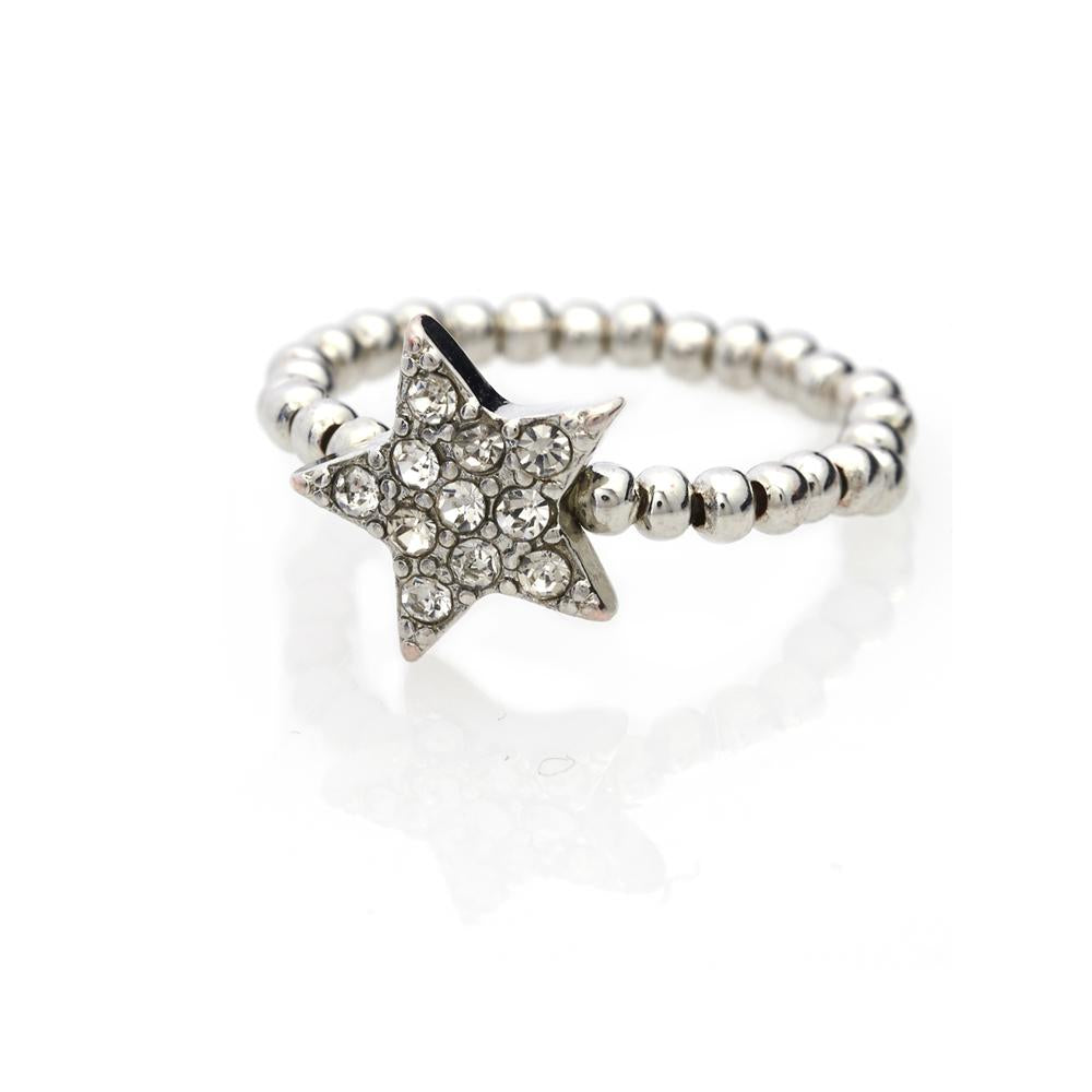 So cute! Who doesn't love Handmade jewellery? A shiny diamante star stretch ring with crystals. The perfect sparkle for your hands.    British Design, handmade. Stretchable 17mm inside diameter. Brass with Rhodium plating.
