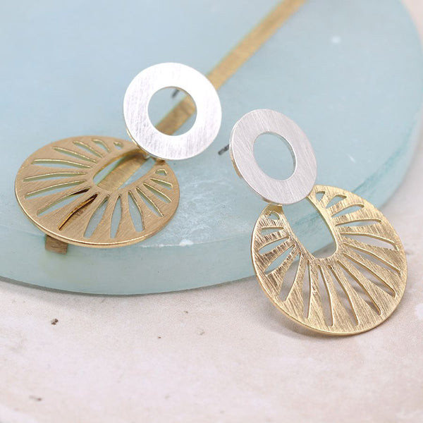 Who wants to feel some sunshine on their face? Our mixed metallic stud earrings with silver plated circles and golden sun ray discs in a worn scratched finish are modern, fun and the perfect gift for yourself or a loved one.      Matching necklace available.  Size - approx. 40mm x 25mm.