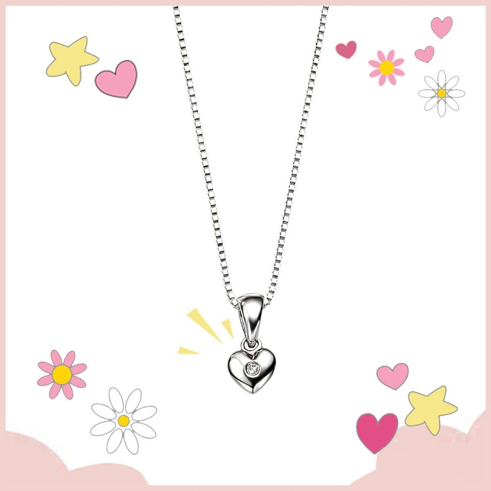 "What little girl doesn't want a heart from the person they love?  A pretty and timeless piece this heart shaped Sterling Silver necklace has an ethically sourced twinkling diamond. Matching earrings available.    14"" mirror box chain. Round brilliant diamond, 0.01 carat weight."