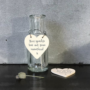 "Perfect as a hanging decoration or a gift tag, this sign is made from laser cut painted plywood on a wire hanger with the beautiful message ""Your sparkle has not gone unnoticed"".    Size - 3 x 6 x 0.1cm"