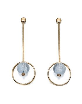 These fabulous earrings by Fiorelli showcase a white marble resin bead which sits within the circular drop. Suitable for daytime wear or a special occasion.  Approx. size 65mm x 20mm.
