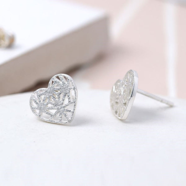 Handmade Sterling Silver Lattice Heart Stud Earrings