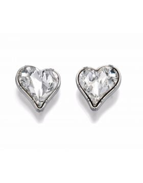 In a modern heart shape these Swarovski crystal earrings are simply fabulous. Team up with the matching necklace for a sophisicated look.  Rhodium plated.