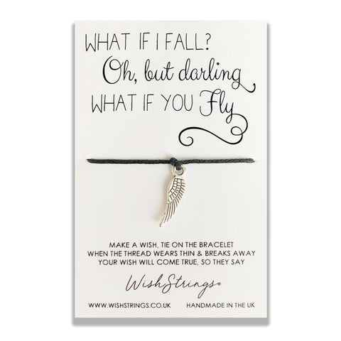 Handmade with love in the UK, a silver wing charm has been hand strung and knotted on 30cm of the finest waxed cotton cord. Presented on a luxury 350gsm display card, the motivational words will provide inspiration and hold special meaning to the wearer.  Bracelet size - one size fits all. Trim to fit. Card size - 85mm x 55mm x 5mm.