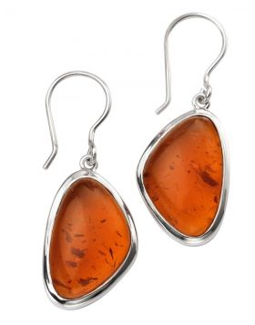 Amber is fossilied resin originating from extinct coniferous trees.  Before modern medicine amber was worn as a necklace or carried in a bag as a remedy for various aches and pains. Some still believe in it's healing power today! As you can see from these luscious earrings, the distinctive hues of amber compliment sterling silver very well. Note that the beautiful natural inclusions will vary.  Size - approx. 40mm in length. Matching necklace available.