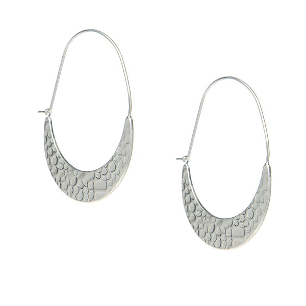 Crescent Hoop Earrings (Silver Plated)