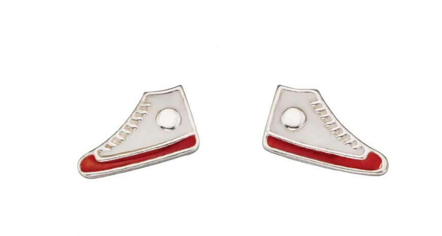 These petite quirky Sterling Silver White Enamel Hi-Top Sneaker Studs will certainly add some fun to your jewellery collection.  Size - approx. 10mm x 5mm.