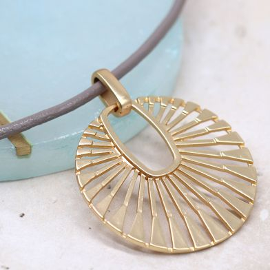 Golden Sun Disc Pendant with Taupe Necklace (Silver Plated)