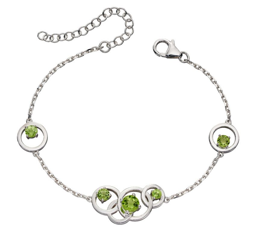 These are beautiful intricate bracelets featuring peridot, blue topaz and amethyst stones set within interlinked polished sterling silver circles and finished with an anti-tarnish coating. Don't forget the matching earrings and necklace!     Largest stone - 6mm. Bracelet length - 17 - 22cm.