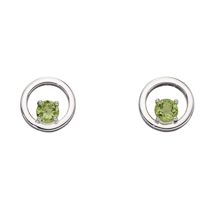We love this modern geometric design featuring a round peridot, amethyst or blue topaz stone in each earring set into polished sterling silver and finished with an anti-tarnish coating. Don't forget the matching necklace and bracelet.     Circle width - 10mm