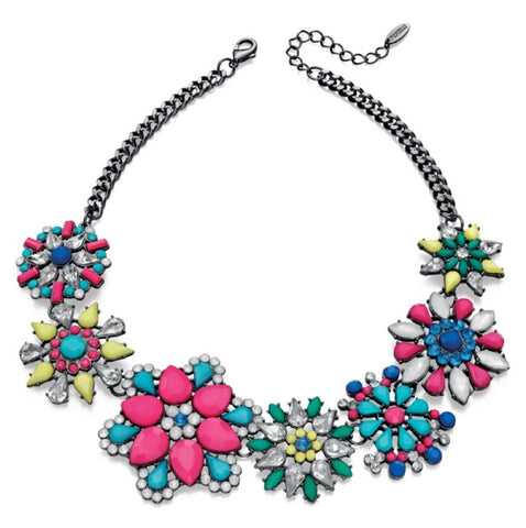 "As soon as this fabulous piece arrived at Adelic my son said ""Mum, you have to have it!""  It looks absolutely amazing on and enhances any outfit. With multi coloured Preciosa crystals you definitely need this statement piece for your jewellery collection.  Size - 16"" chain with 5"" extender."