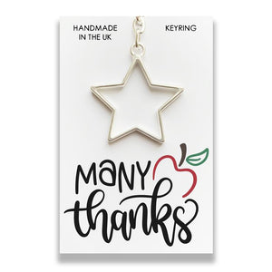 A delightful handmade metal star keyring presented on a presentation card with space on the reverse for a message to be added.     Star Dimensions - 4.5cm.  Card Measurements - 8.5cm x 5.5cm.