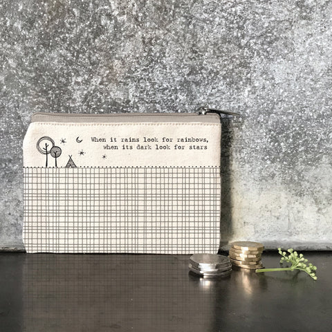 We adore the inspirational quote on this beige canvas purse - 'When it rains look for rainbows, when its dark look for stars'.      Size - 13.5 x 10 x 0.7cm