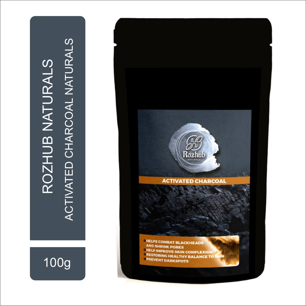 Rozhub Naturals Activated Charcoal Face Pack Powder - 100g - Rozhub Naturals