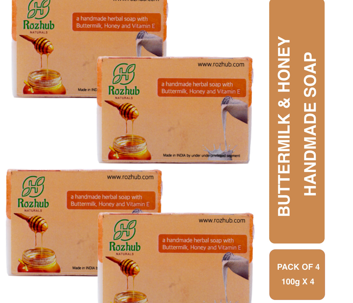 Honey and Buttermilk Handmade Bathing Soap with Goodness of Shea Butter - 100gm - Rozhub Naturals