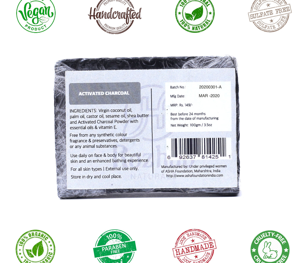 Activated Charcoal Handmade Bathing Soap - 100g - Rozhub Naturals