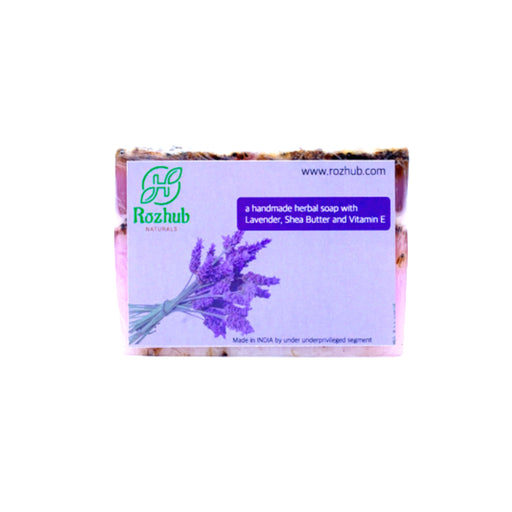 Lavender Soap, 100% Natural & Handmade with Shea Butter,Vitamin E and Therapeutic Essential Oils - 100gm - Rozhub Naturals