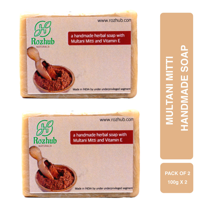 Rozhub Naturals Handmade Soap with Vitamin E, Olive Oil, Shea Butter, Organic & Natural for all type of Skin, Men, Women & Baby - Multani Mitti