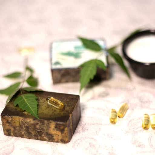Handmade Neem Soap with Neem Leaf Scrub, Shea Butter and Vitamin E - 100gm - Rozhub Naturals