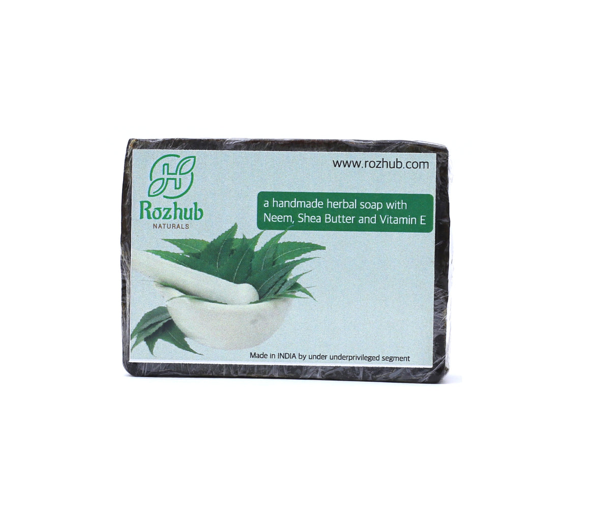 Neem Handmade Bathing Bar with Goodness of Vitamin E - 100gm - Rozhub Naturals