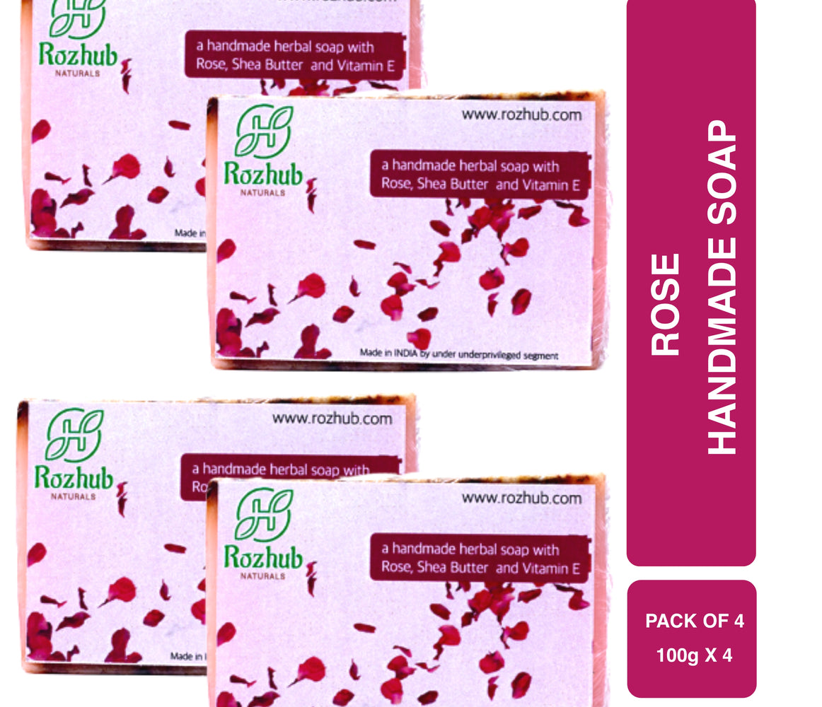 Rose Petal Handmade Bathing Bar with Vitamin E and Essential Oil - 100gm - Rozhub Naturals