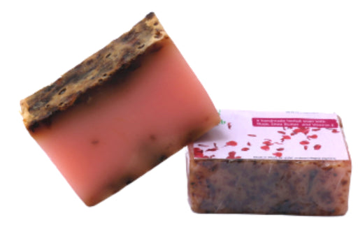 Rose Petal Soap Handmade and 100% Natural with Shea Butter, Vitamin E and Essential Oil - 100gm - Rozhub Naturals