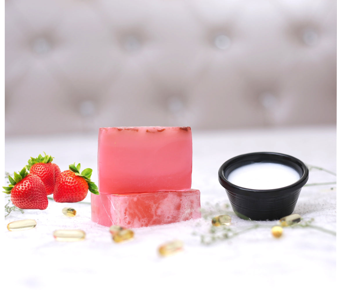 Strawberry Handcrafted Natural Scrubbing Soap with Shea Butter and Vitamin E - 100gm - Rozhub Naturals