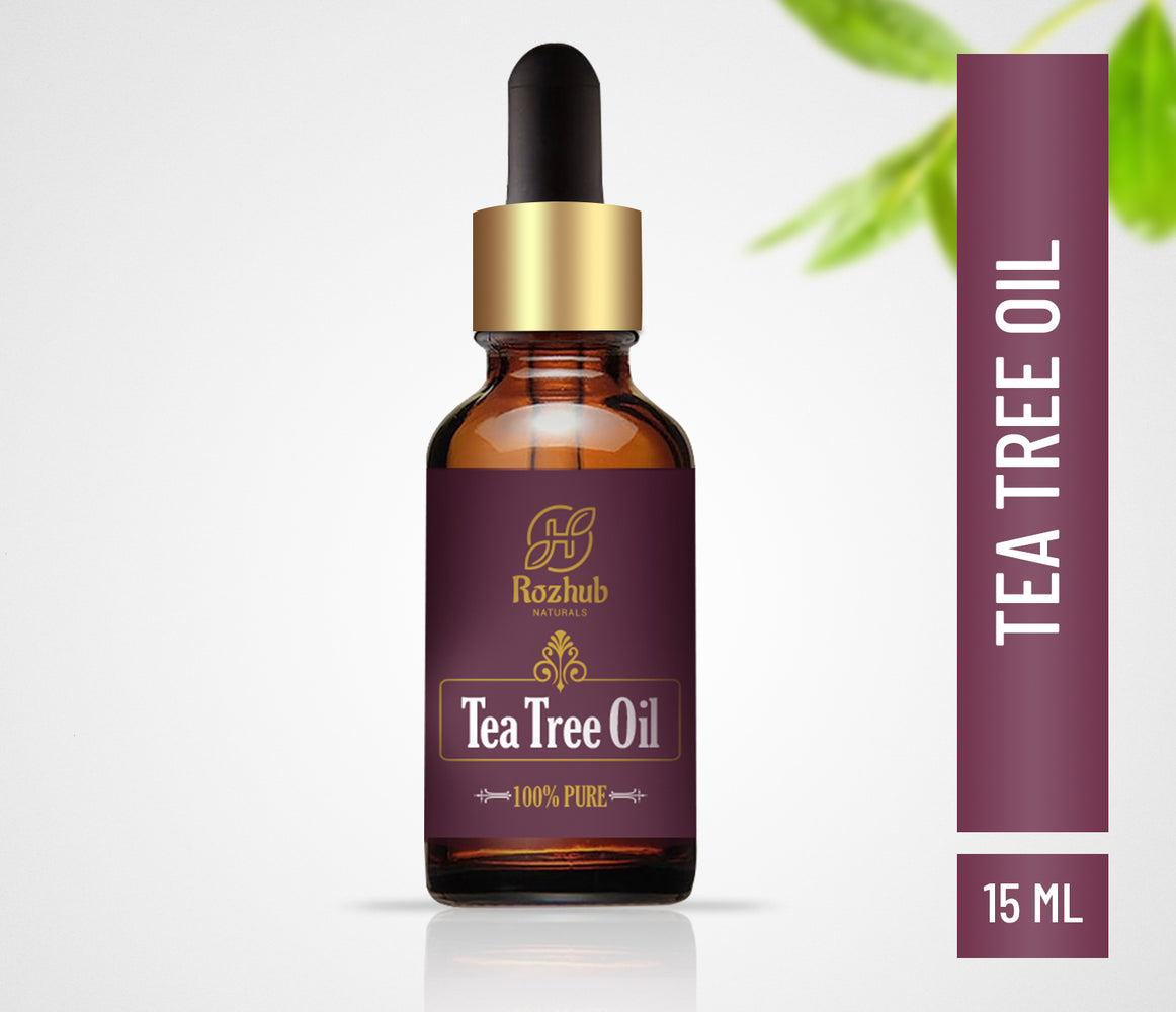 Rozhub Naturals Tea Tree Essential Oil for Skin, Hair, Face, Acne Care, 100% Pure, Natural and Undiluted Therapeutic Grade Essential Oil - 15ml - Rozhub Naturals