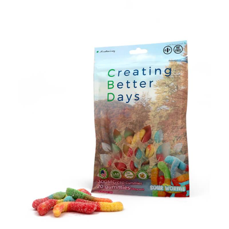 Creating Better Days - CBD Edible - Sour Worms Gummies - 20pc-15mg