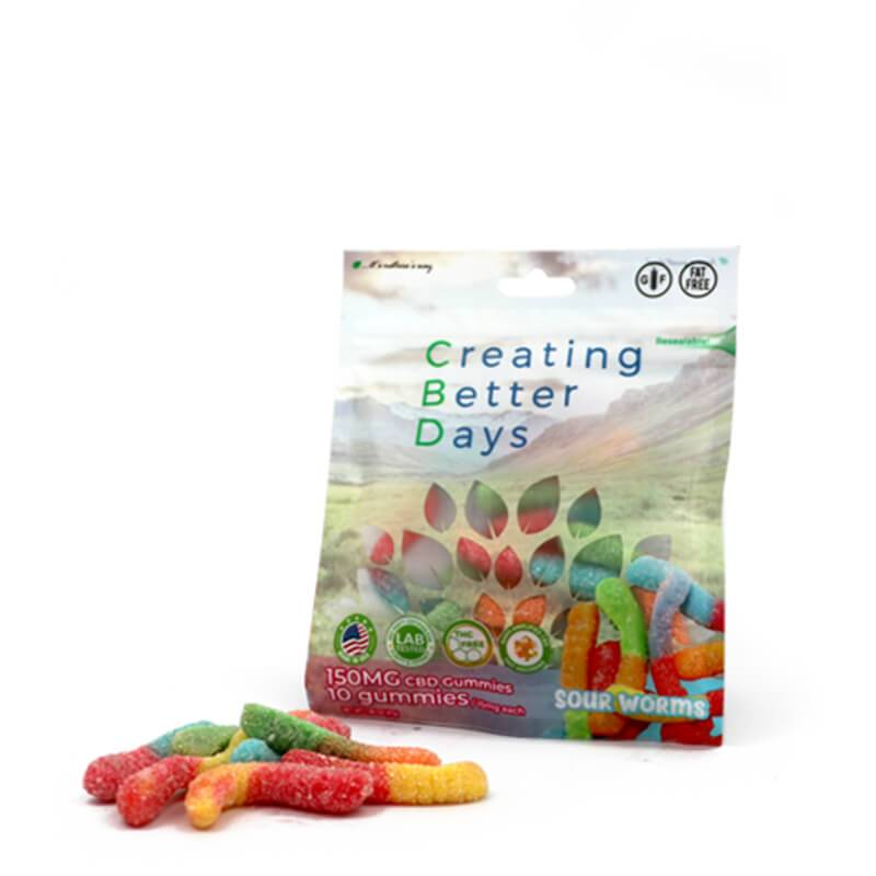 Creating Better Days - CBD Edible - Sour Worms Gummies - 10pc-15mg
