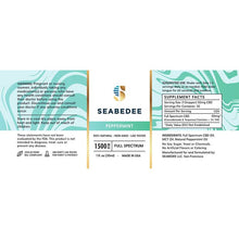 Load image into Gallery viewer, Seabedee - CBD Tincture - Full Spectrum Peppermint - 1500mg