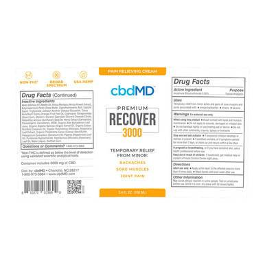 cbdMD - CBD Topical - Recover Pump - 3000mg