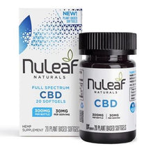 Load image into Gallery viewer, NuLeaf Naturals - CBD Softgels - Full Spectrum Hemp - 300mg-1800mg