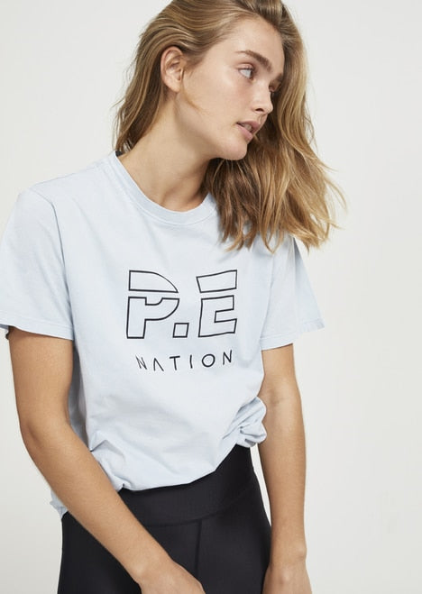 PE NATION Heads Up Tee Blue