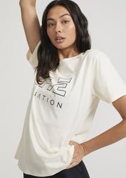 PE NATION Heads Up Tee Pearled Ivory
