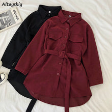 Load image into Gallery viewer, Corduroy Long Sleeve Dress Women Solid Buttonsku