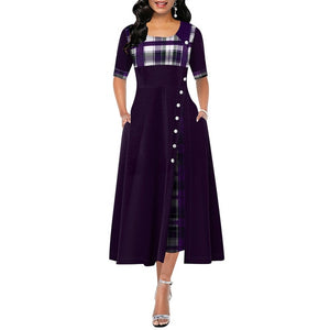 Elegant Long Dress Women spring Plaid Print Party Dress
