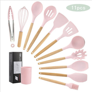 11pcs  Silicone Cooking Utensils Set ,Pink Solid