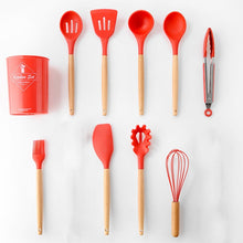 Load image into Gallery viewer, 11pcs  Silicone Cooking Utensils Set ,Pink Solid