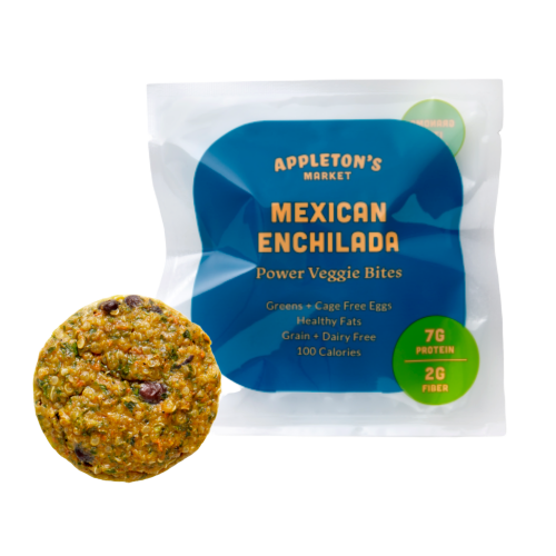 Appleton's market power veggie bites Mexican enchilada delicious frozen snack mini meal black beans greens vegetables fiber protein eggs microwave cumin chili zesty spicy individual bite with steam packaging shot keto and paleo friendly grain free gluten free dairy free