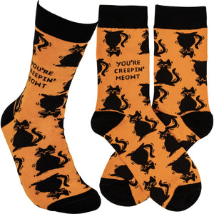 PRE-ORDER Black Cat Socks - You're Creepin' Meowt