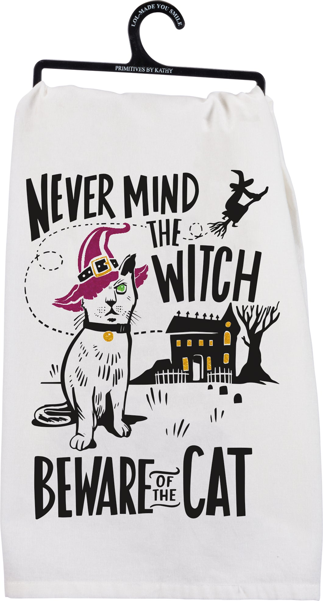 Halloween Beware of the Cat Dish Towel