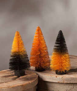 Orange & Black Magic Ombre Mini Bottle Brush Trees