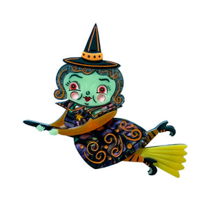 Lipstick & Chrome Broomhilda Witch Brooch Johanna Parker