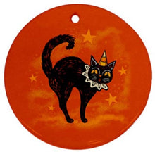 Load image into Gallery viewer, Johanna Parker Halloween Cat & Crow Ornament