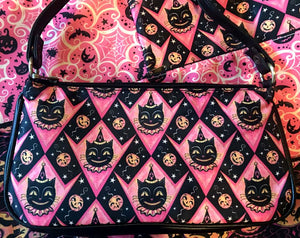Johanna Parker Pink Grinning Black Cat Clutch Bag